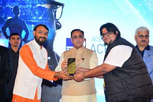 Received an award by the Honourable CM of Gujarat Shree Vijaybhai Rupani at a glittering event ACE Achievers